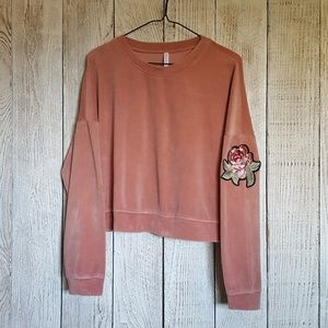 Rose Embroided Mauve Velvet Sweatshirt {XL}